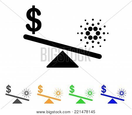Dollar Cardano Balance Swings icon. Vector illustration style is a flat iconic dollar cardano balance swings black symbol with grey, yellow, green, blue color versions.