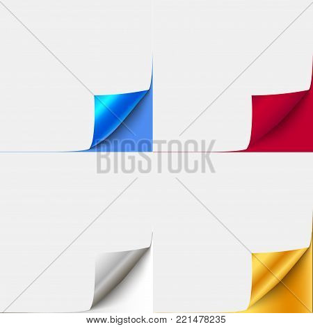 Set of colorful curled paper corners for advertising and sale promo.  vector paper with curl corner for book, brochure curled page.