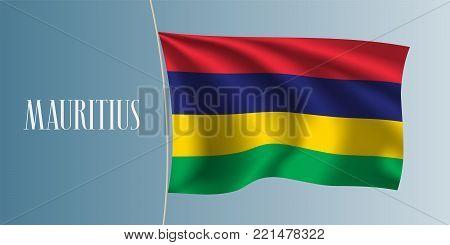 Mauritius waving flag vector illustration. Four colours stripes elements as a national Mauritius symbol