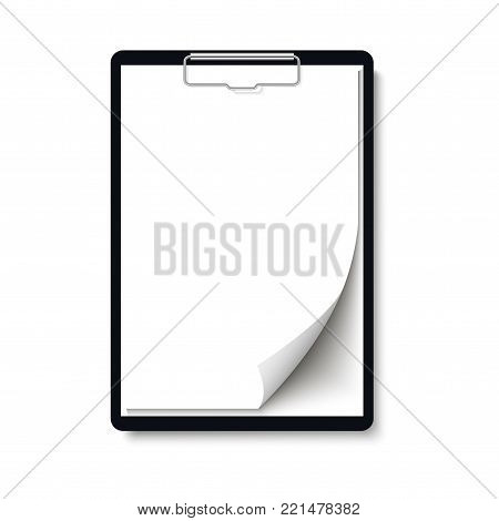 Realistic clipboard folder with blank white sheet of paper with curled corner mock up. Vector