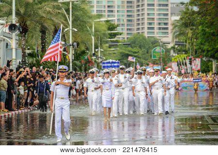 Pattaya, Thailand - November 19, 2017: United States of America Navy parade marching on the 50th anniversary ASEAN International Fleet Review 2017 at the beach of Pattaya, Thailand