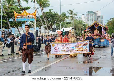 Pattaya, Thailand - November 19, 2017: Pattaya Floating Market parade marching on the 50th anniversary ASEAN International Fleet Review 2017 to promote tourism in Pattaya city of Thailand