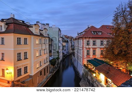 Prague, Czech Republic - October 10, 2017: Baroque house Hotel Certovka and small branch of the river Vltava, the Certovka, Prague, Czech Republic. The Lesser Town, Prague