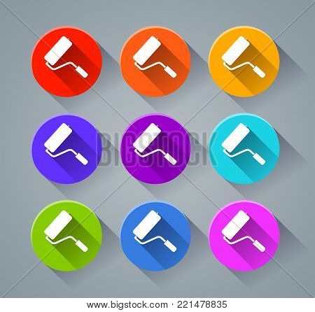 Illustration of paintroller icons with various colors
