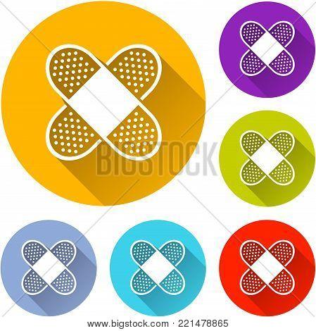 Illustration of bandage circle icons set concept