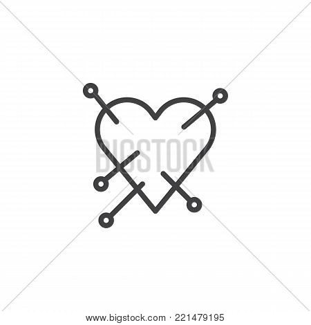 Heart with straight pin line icon, outline vector sign, linear style pictogram isolated on white. Love symbol, logo illustration. Editable stroke