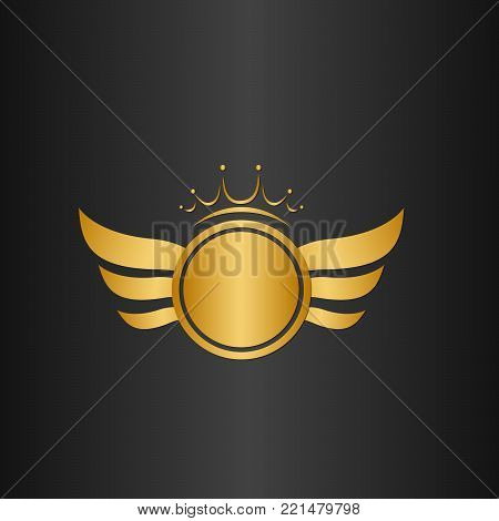 Wings logo - golden auto wings logo template. Golden wing logo company, emblem winged label, vector illustration with crown