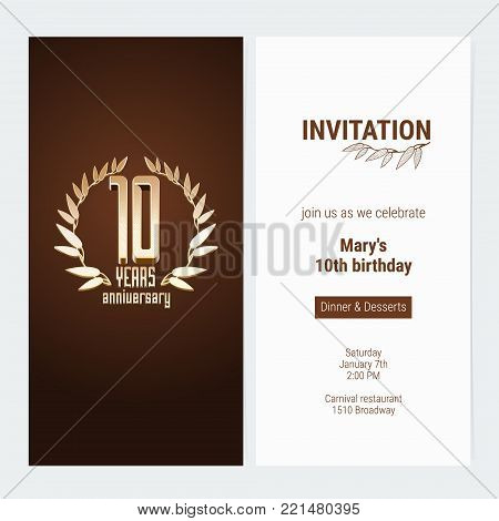 10 years anniversary invitation to celebrate the event vector illustration. Design template element with golden number and text for 10th birthday card, party invite