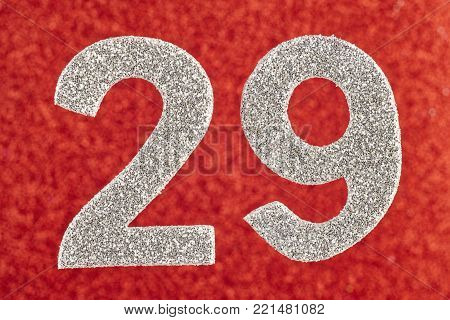 Number twenty-nine silver color over a red background. Anniversary. Horizontal