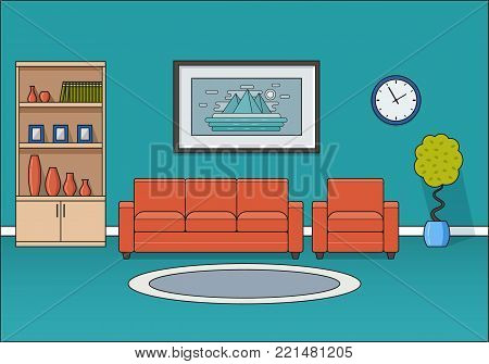 Living room interior. Linear room in flat design. Line art vector illustration. Home space with sofa and armchair. Cartoon furniture. House equipment.