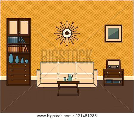 Retro room interior. Living room in in flat design. Thin line illustration. Vector graphics. Linear vintage home space with sofa, bookshelf and coffee table. House equipment. Cartoon furniture.