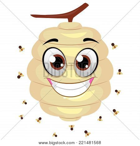 Vector Illustration of Beehive Mascot with Flying Bees around