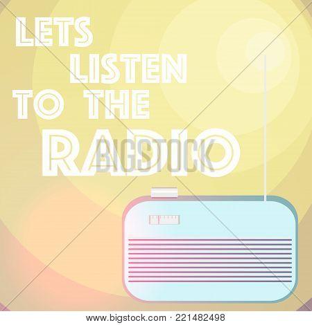 Lets listen to the radio. Vector illustration.