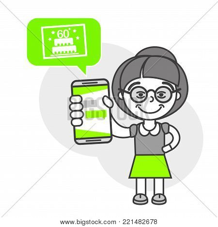 Simple flat stylistics adaptation to corporate style. Icon message grandmother congratulation anniversary cake postcard shows mobile phone message positive