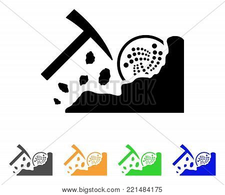 Mining Iota Rocks icon. Vector illustration style is a flat iconic mining iota rocks black symbol with grey, yellow, green, blue color versions. Designed for web and software interfaces.