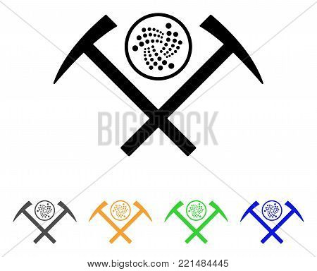 Iota Mining Hammers icon. Vector illustration style is a flat iconic iota mining hammers black symbol with gray, yellow, green, blue color variants. Designed for web and software interfaces.