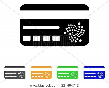 Iota Banking Card icon. Vector illustration style is a flat iconic iota banking card black symbol with grey, yellow, green, blue color versions. Designed for web and software interfaces.