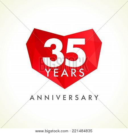 Anniversary 35 years old celebrating logotype with hearts. Luxurious celebrating congratulating greetings, stained glass numbers template. Valentine's Day abstract emotional lovely isolated shape.