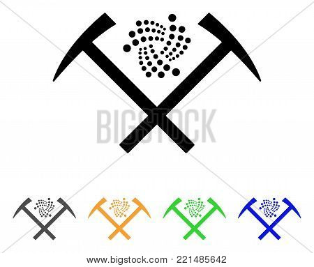 Iota Mining Hammers icon. Vector illustration style is a flat iconic iota mining hammers black symbol with grey, yellow, green, blue color versions. Designed for web and software interfaces.