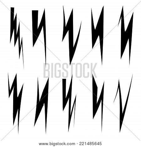 Set Lighting Bolts, Flash, Icons, vector, Viking, wolf Fang, symbol, thunder flash, hand drawn
