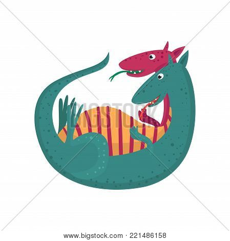 Cute cartoon double headed dragon character, mythical animal, fantasy reptile vector Illustration on a white background