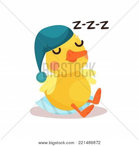 Cute little yellow duck chick character in a blue hat sleeping cartoon vector Illustration on a white background