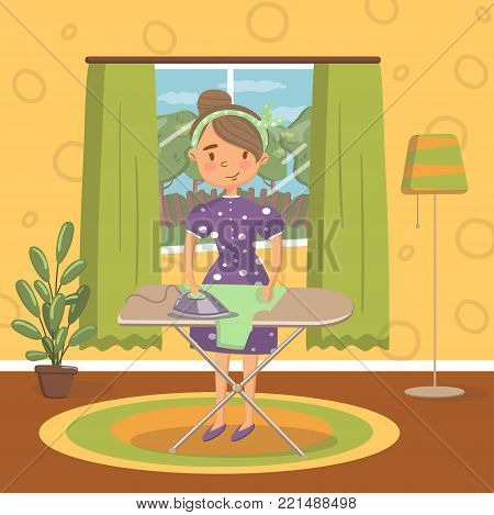 Young woman in casual clothing ironing clothes on an ironing board in living room, vintage cozy home interior vector Illustration, cartoon style
