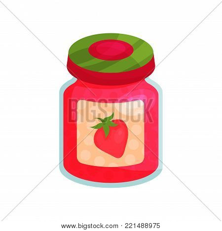 Strawberry jam in glass jar with lid, homemade fruit jam jar cartoon vector Illustration on a white background