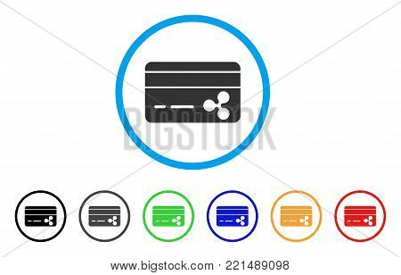 Ripple Banking Card rounded icon. Style is a flat gray symbol inside light blue circle with bonus color versions. Ripple Banking Card vector designed for web and software interfaces.
