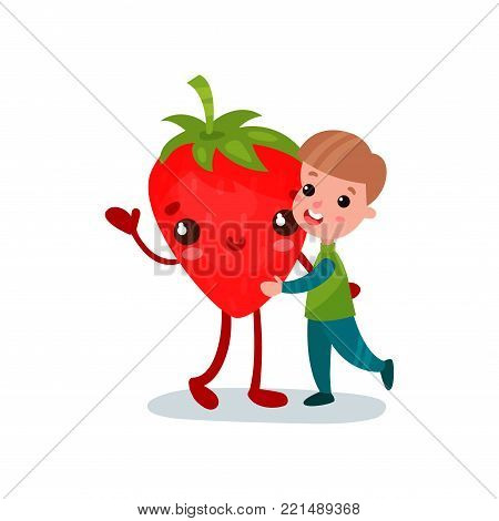 Cute little boy hugging giant strawberry character, best friends, healthy food for kids cartoon vector Illustration on a white background