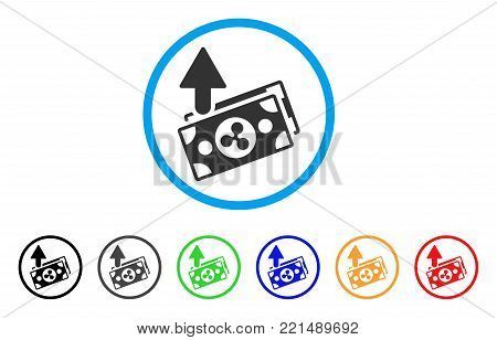 Ripple Expences Banknotes rounded icon. Style is a flat grey symbol inside light blue circle with additional colored variants.