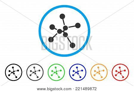 Ripple Links rounded icon. Style is a flat grey symbol inside light blue circle with additional colored versions. Ripple Links vector designed for web and software interfaces.