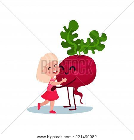 Cute little girl hugging giant smiling beetroot vegetable character, best friends, healthy food for kids cartoon vector Illustration on a white background