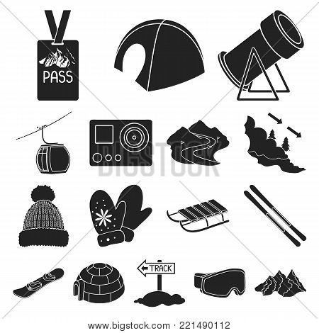 Ski resort and equipment black icons in set collection for design. Entertainment and recreation vector symbol stock  illustration.