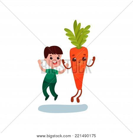 Cute little boy jumping with happy giant carrot vegetable character, best friends, healthy food for kids cartoon vector Illustration on a white background