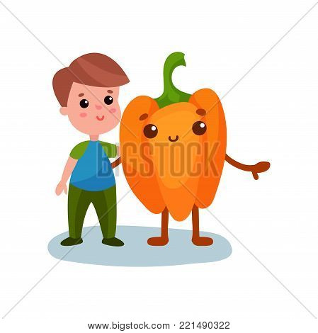 Cute little boy hugging giant pepper vegetable character, best friends, healthy food for kids cartoon vector Illustration on a white background