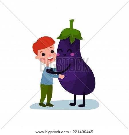 Sweet little boy hugging giant eggplant vegetable character, best friends, healthy food for kids cartoon vector Illustration on a white background