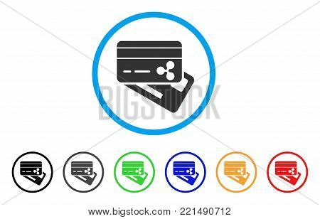Ripple Banking Cards rounded icon. Style is a flat grey symbol inside light blue circle with bonus colored versions. Ripple Banking Cards vector designed for web and software interfaces.