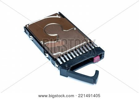 Close up of hot plug SAS computer disk drive HDD in tray isolated on white background