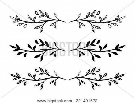 Set of vector hand drawn decorative black branch frame elements or dividers isolated on white background