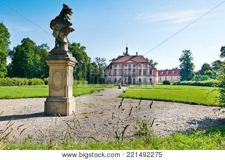 CZECH REPUBLIC, LIBECHOV - APR 27, 2016: baroque Libechov castle near Melnik, Central Bohemia, Czech republic