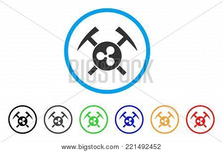 Ripple Mining Hammers rounded icon. Style is a flat grey symbol inside light blue circle with additional colored versions. Ripple Mining Hammers vector designed for web and software interfaces.
