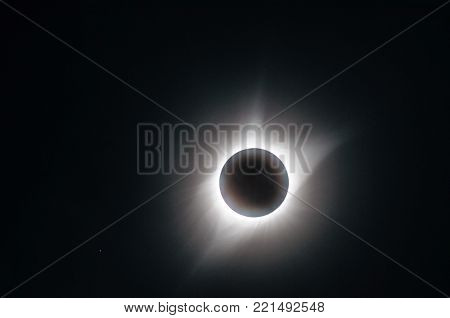 Detail of the sun's corona during the great American eclipse on August 21. Image taken in the Town of Ravenna, Nebraska during totality.