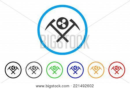 Ripple Mining Hammers rounded icon. Style is a flat grey symbol inside light blue circle with bonus color variants. Ripple Mining Hammers vector designed for web and software interfaces.