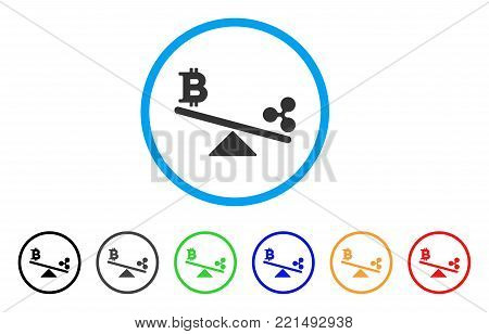 Bitcoin Ripple Swing Balance rounded icon. Style is a flat gray symbol inside light blue circle with bonus color versions. Bitcoin Ripple Swing Balance vector designed for web and software interfaces.
