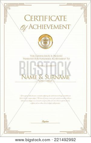 Retro Vintage Certificate Or Diploma Vector Template 5.eps