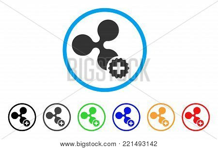 Create Ripple rounded icon. Style is a flat gray symbol inside light blue circle with bonus color variants. Create Ripple vector designed for web and software interfaces.