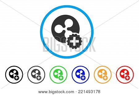 Create Ripple Coin rounded icon. Style is a flat grey symbol inside light blue circle with additional colored variants. Create Ripple Coin vector designed for web and software interfaces.