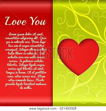 Elegant amorous poster with greeting text red cut heart and green ornate wrapping paper vector illustration