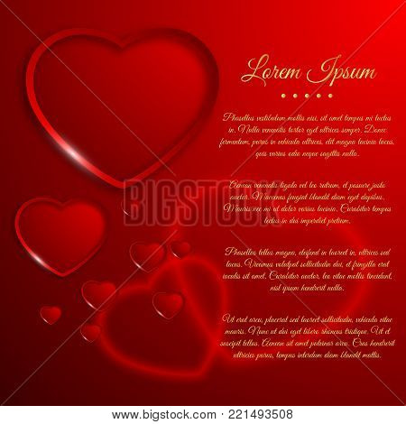 Amorous light poster with greeting text and romantic hearts on red background vector illustration